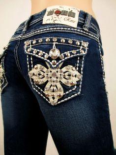 2ea01bcd67d L.a. Idol Women Bootcut Jeans Leather Crystal Cross Flap Stretch in Dark  Blue. La Idol