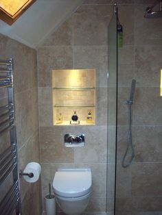 bathroom tile recessed shelves - Google Search