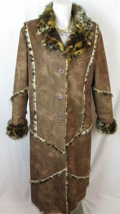 Gorgeous Women's Brown Ultra Suede and Leopard Faux Fur Coat Size L #Unbranded #BasicCoat