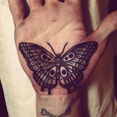 Butterfly Tattoo on Palm of Hand