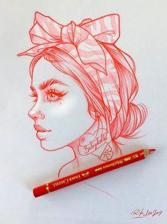 Girl Drawing Sketches, Cool Art Drawings, Pencil Art Drawings, Tattoo Sketches, Sketch Art, Tattoo Drawings, Rik Lee, Family First Tattoo, Art Sketchbook