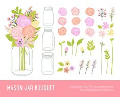 Mason Jar Bouquet Clip art MASON JAR BLOOMS by PixeledPaperDesigns, $4.20