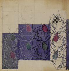 Textile design: Flower Bulbs 1915-23 (textile design) | Charles Rennie; (Scottish; 1868-1928) Hunterian Art Gallery Mackintosh collections