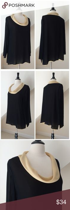 🆕 Blutime Chiffon Blouse NWOT Blutime Chiffon Blouse...double layer of chiffon, black over cream...cowl neckline...relaxed fit...cream layer is slightly longer...long sleeve in sheer black...made in Italy...size and fabric tags have been removed...size XL based on mannequin fit...perfect condition. Blutime Tops Blouses
