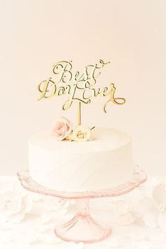Gold cake topper by Better Off Wed