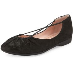 Taryn Rose Bryan Ruched Crisscross Ballerina Flat (200 CAD) ❤ liked on Polyvore featuring shoes, flats, black, black low heel shoes, ballet shoes, scrunch flats, criss cross ballet flats and taryn rose flats