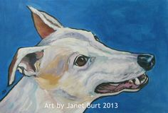 Graceful greyhound acrylic painting by Janet Burt, 12 x 18 inches