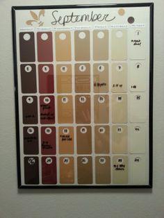 My diy success: Paint chip calendar