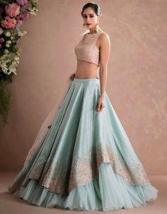 Latest Designer Wedding Lehenga Designs for Indian Bride Sky Blue Layered Embroidered Designer Lehenga Choli Indian Gowns Dresses, Indian Fashion Dresses, Indian Designer Outfits, Pakistani Dresses, Designer Dresses, Designer Bridal Lehenga, Bridal Lehenga Choli, Lehenga Choli With Price, Lehenga Wedding
