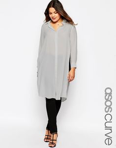 Image 1 of ASOS CURVE Long Sleeve Maxi Blouse with High Splits