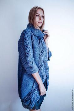 """Купить Кардиган - пальто """"МАССИВ"""" - тёмно-синий, орнамент, кардиган, пальто вязаное"""