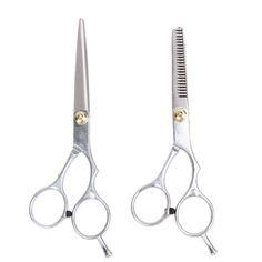 2 pcs profesional peluquería tijeras del pelo 5.5/6.0 pulgadas de corte tijeras de entresacar tijeras de peluquería que labra la herramienta de acero inoxidable