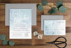 Dusty Blue Watercolor Wedding Invitation - PRINTABLE by MLBandCo on Etsy https://www.etsy.com/listing/492194999/dusty-blue-watercolor-wedding-invitation