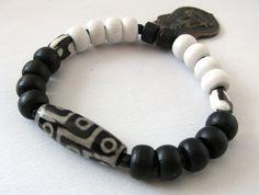 Buddha Bracelet Tibetan Dzi Bead African By Rainwaterbeads 39 00 Beads