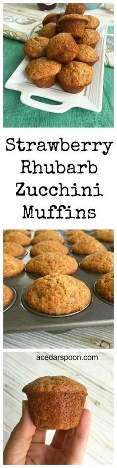 Strawberry rhubarb jam gives zucchini muffins a sweeter side in these Strawberry Rhubarb Zucchini Muffins. These are a family favorite, especially with kids and make a quick snack or addition to your breakfast or brunch. If you have endless zucchini from your garden add these to your list to make.// A Cedar Spoon