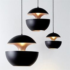 LINASmall Aluminum Apple chandeliers living room restaurant cafe lounge hall personality creative black35cm Lamps * Click image for more details.