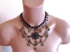 Halsband,Gothic Schmuck,Collier, Spitzenband,Spinnen, Schwarz