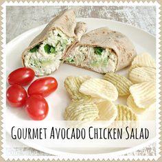 Everyday is a Holiday: Gourmet Avocado Chicken Salad:  2 cups shredded chicken  1 avocado (peeled, pitted, and cubed)  1/2 teaspoon garlic powder  1/2 teaspoon salt  1/2 teaspoon pepper  2-3 teaspoons lime juice  2 stalks celery chopped  1/4 cup fresh cilantro chopped  1/4 cup light mayo  1/4 cup plain Greek yogurt
