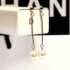Promotion ! OL Temperament Long Section of Simulated Pearl Earrings Drop Earrings Gilded Dangle Earrings For Women Jewerly