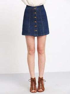 Blue Buttons A Line Denim Skirt