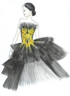 Gold and Black Marchesa Fashion Illustration Print Hand by Zoia