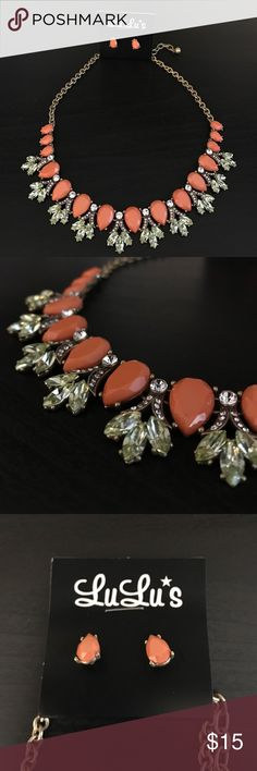 Lulu's Coral Accent Necklace New with tags, this lovely coral necklace/earring combo pairs great with casual or formal dresses. Lulu's Jewelry Necklaces