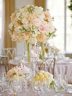 peach romantic crystal or pearl reception wedding flowers,  wedding decor, peach wedding flower centerpiece, peach wedding flower arrangement, add pic source on comment and we will update it. www.myfloweraffair.com  can create this wedding look for you.