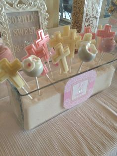 Elegant baptism for a little girl - Candy Bar - cupcakes Cakepops candy rocky candy - chocolate - pretzels - sweets  -cookies