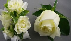 """""""His 'n Hers"""" Matching white Boutonniere (rose) and Wrist Corsage (white spray rose) White Boutonniere, Corsage And Boutonniere, Boutonnieres, Blush Wedding Flowers, Prom Flowers, Wedding Flower Arrangements, White Spray Roses, White Roses, Rose Corsage"""