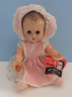 "BEAUTIFUL 12"" 1950'S  EARLY MOLDED HAIR IDEAL BETSY WETSY DOLL WITH HANGTAG"
