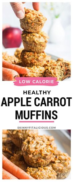 Healthy Carrot Apple Flax Muffins are made low calorie, gluten free and dairy free! #healthy #carrot #apple #flax #muffins #lowcalorie #glutenfree #dairyfree Balanced Breakfast, Breakfast On The Go, Savory Breakfast, Sweet Breakfast, Healthy Breakfast Recipes, Healthy Snacks, Gluten Free Granola, Gluten Free Oatmeal, Gluten Free Recipes For Breakfast