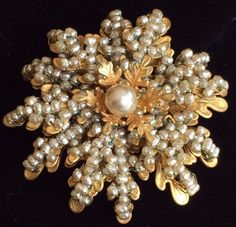 Glorious Vintage Miriam Haskell Brooch Pin~Silver Pearls/Gold Tone Filigree~Sign #MiriamHaskell