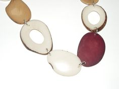 necklace brown and white  tagua nut beads slices  by MaisonDelclef