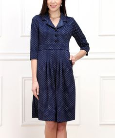 Another great find on #zulily! Navy Pin Dot Button-Front Dress by Reborn Collection #zulilyfinds