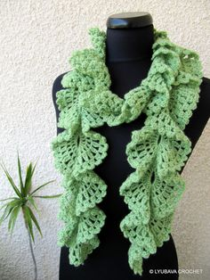 Crochet Pattern, Crochet Ruffle Lace Scarf Tutorial Crochet Pattern, Instant Downlad PDF File Lyubava Crochet Pattern number 98