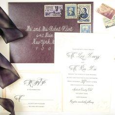 Timeless Elegant Wedding Invitation with Calligraphy, Vintage Stamps, and Hand Dyed Silk Ribbon. honey-paper.com #santabarbarawedding #montecito #purple