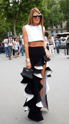 Balenciaga dress, Chanel bracelet.