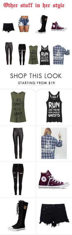 """""""Untitled #8"""" by oblivious-river ❤ liked on Polyvore featuring Haute Hippie, Fifth Sun, H&M, River Island, Converse and rag & bone"""