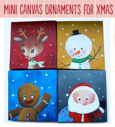 mini canvas ornaments  Makes me want to do a class!!