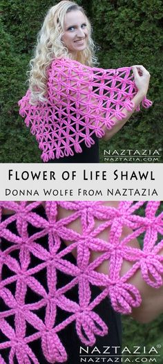 Crochet Flower of Life Shawl - Free Pattern & DIY Tutorial YouTube Video by Donna Wolfe from Naztazia