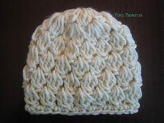 Crochet Pattern Cluster Stitch Beanie Hat- such a pretty stitch Crochet Slouchy Hat, Crochet Baby Hats, Knitted Headband, Diy Crochet, Crochet Clothes, Crochet Hooks, Crocheted Hats, Crochet Ideas, Basic Crochet Stitches