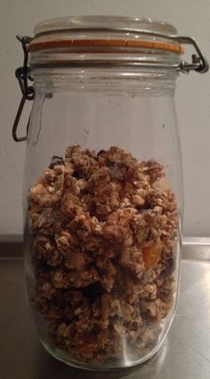 No sugar and flour granola with pure (88%) chocolate  drops and dried apricots  (:
