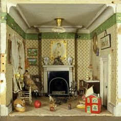 Amy Miles' dolls-house, showing a detail of the nursery, around 1890. Museum no. W.146-1921