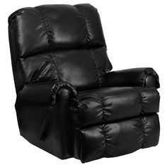 Flash Furniture Ty Black Leather Faux Leather Recliner at Lowe's. This is an excellent Rocking Recliner that's made with your comfort in mind. It has been built to just the right dimensions for the average sized person, Leather Reclining Sofa, Leather Recliner, Leather Sofas, Contemporary Recliners, Contemporary Furniture, Contemporary Style, Chair And A Half, Cool Chairs, Fur Chairs