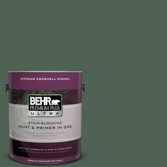 BEHR Premium Plus Ultra 1-gal. #bxc-60 Pasture Green Eggshell Enamel Interior Paint