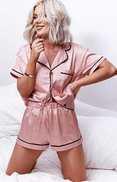 Ideas House Party Outfit Shorts Products For 2019 - Outfits Sexy Pyjamas, Cute Pajamas, Silk Pajamas, Cute Pajama Sets, Silk Pjs, Comfy Pajamas, Satin Pjs, Cute Sleepwear, Sleepwear Women