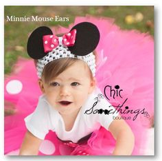 Minnie Mouse Ears Headband, Baby Minnie mouse ears headband, Photo Prop, Childrens Toddler Infant,Halloween Costume, Birthday Minnie Ears on Etsy, $14.00