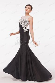 Black mermaid backless prom dresses sparkly pageant dresses