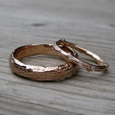 Scattered Diamond Twig Branch Bands from Kristin Coffin Jewelry