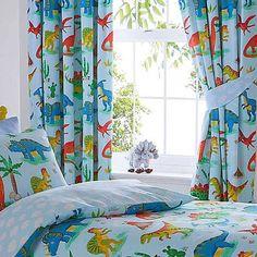 Dinosaur World Curtains Curtains Childrens Room, Light Blue Background, Pencil Pleat, Blue Curtains, Prehistoric, Colours, Tie Backs, World, Blue Green